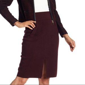 Club Monaco Burgundy Sundith Wool Skirt XS